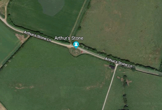 An image of the pin for 'Arthur's Stone' on Google Maps