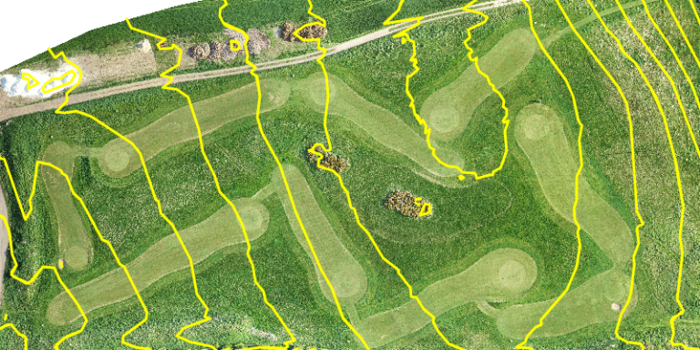 drone survey of a golf sport facility with contours