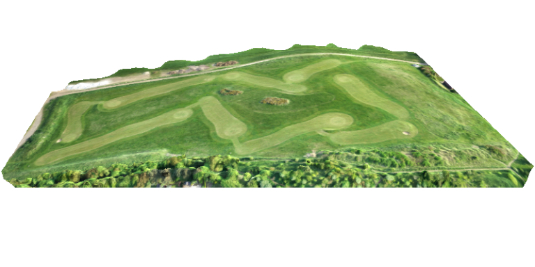drone produced 3d model of a golf course