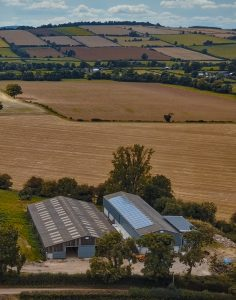 Drone view of farm buildings