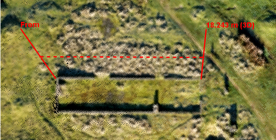Measurements from a 3 ddrone mapping pointcloud