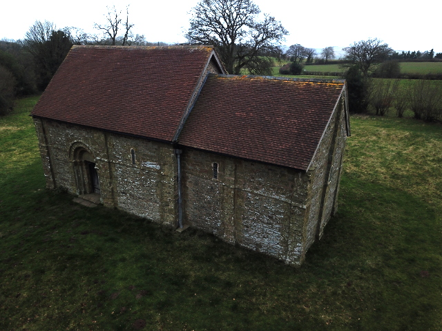 Loow drone photography of a medieval chapel