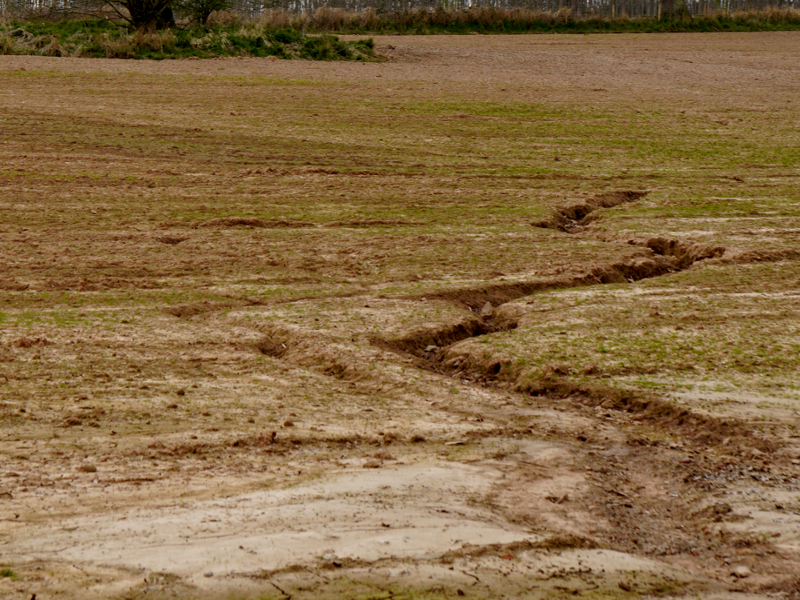 A field damaged by floods, ripe for a drone survey