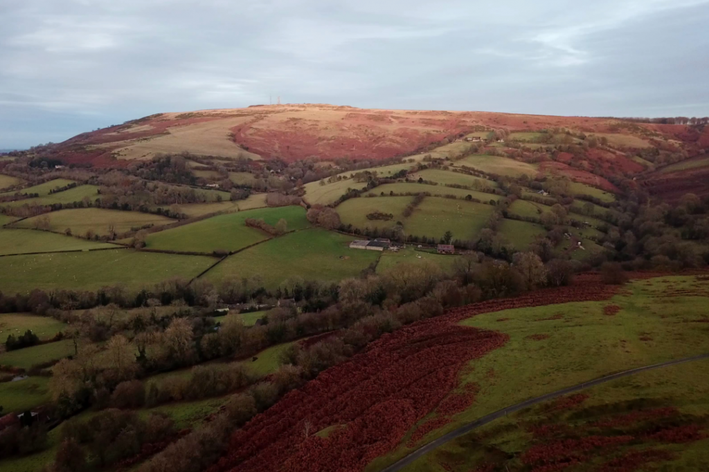 Drone view of Brown Clee Hill from Nordy Bank in Shropshire