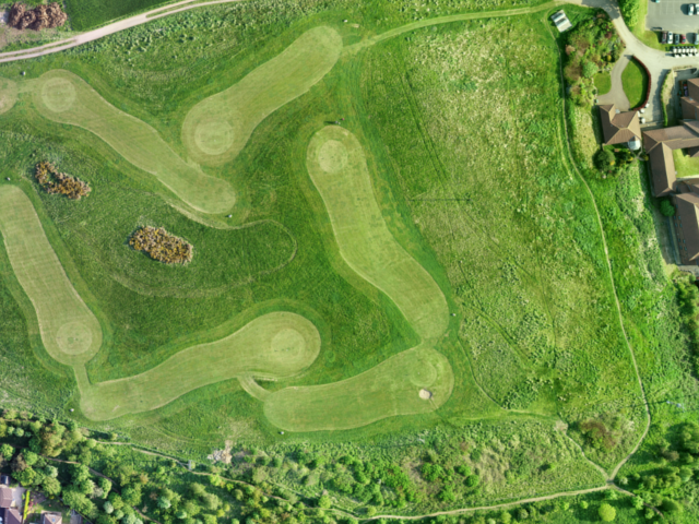 Drone photography of a par 3 golf course