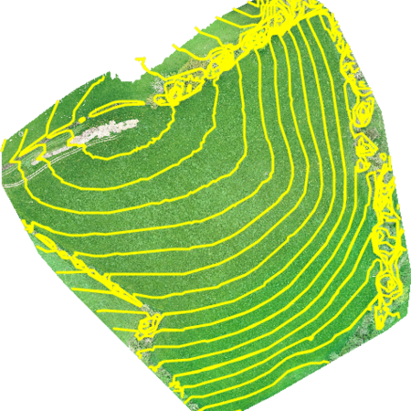 drone agriculture field with contours